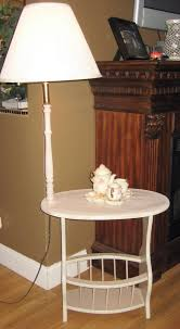 Floor Lamps With Table Attached by Refinished Side Table With Attached Lamp And Magazine Rack