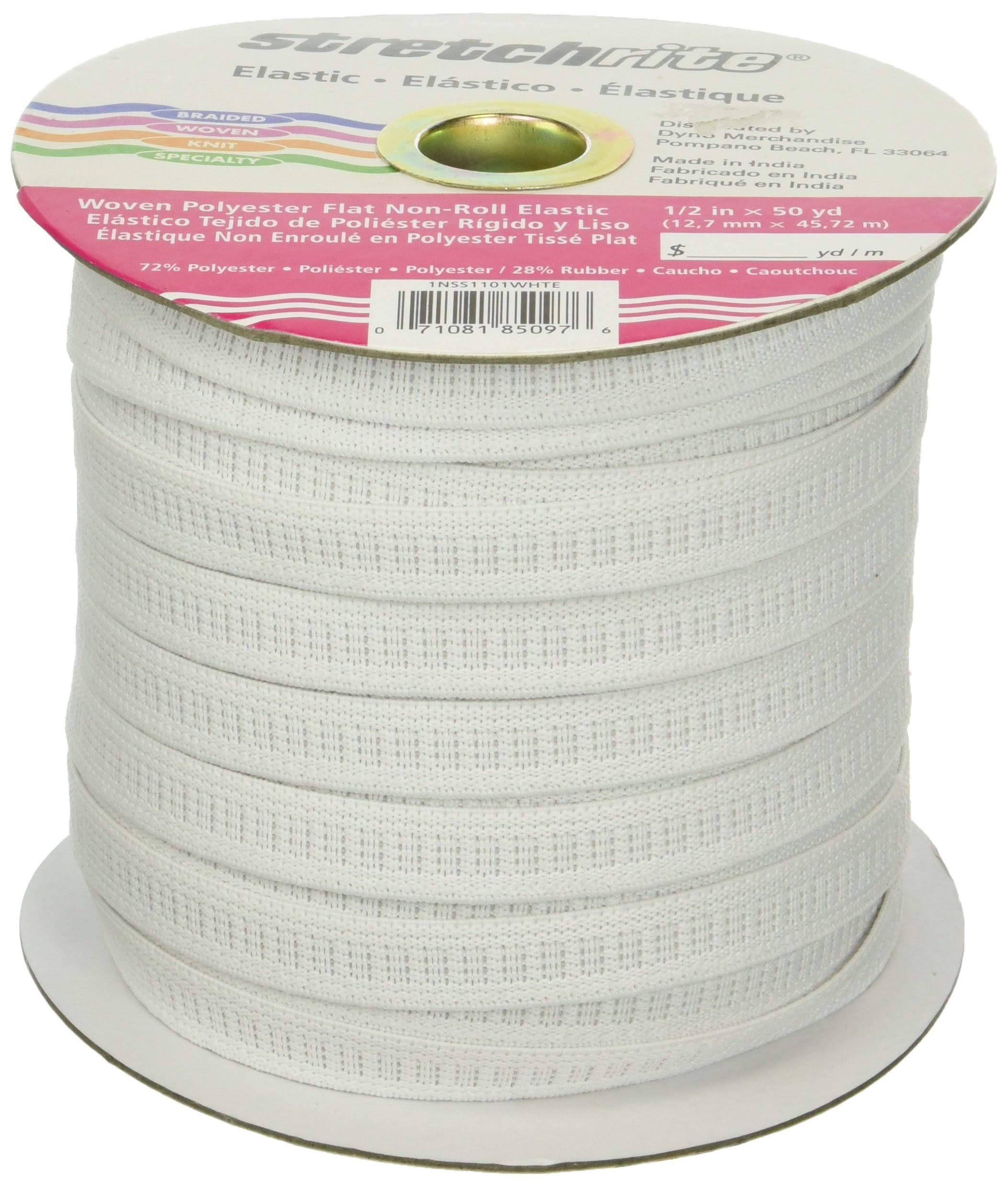 Stretchrite Non-Roll Flat Elastic - White, 1/2'' x 50yd