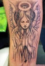 Praying Angel Girl Grey Ink Tattoo