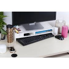 Monitor Shelf For Desk by Wood Computer Monitor Stand Desktop Organizer Rack Keyboard Shelf