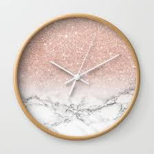 Modern Faux Rose Pink Glitter Ombre White Marble Wall Clock By Girly Trend For Your Bedroom Decor