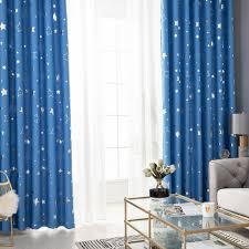 fenstervorhang gedruckt moon solid vorhang vorhänge wohnzimmer schlafzimmer vorhang ösen kinderzimmer 100x130cm blau