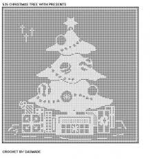 Christmas Tree Presents Filet Crochet Tablecloth Doily Pattern 535
