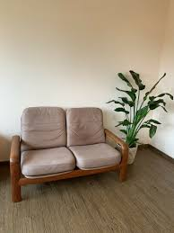 dyrlund design 2er sofa teak leder comfort