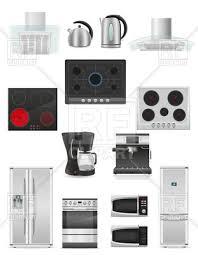 Kitchen Appliances Fridge Oven Kettle Coffee Machine And Extractor Hood