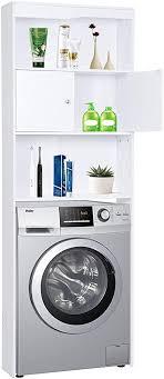 happy home waschmaschinenschrank badregal hochschrank waschmaschine badschrank mit tür und 3 ablagens für toilette badezimmer balkon weiß 62 5 x