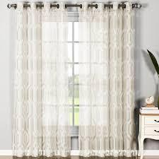 window elements dylan cotton blend geometric sheer grommet curtain