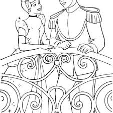 Cinderella Talking To Prince Charming In Coloring Page
