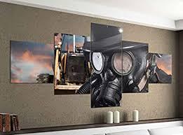 de acrylglasbilder 5 teilig 200x100cm gasmaske maske