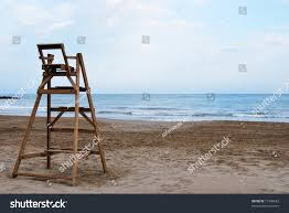 Beach Lifeguard Chair Plans by Wooden Lifeguard Chair Empty Beach Stock Photo 17996683 Shutterstock