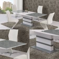 100 White Gloss Extending Dining Table And Chairs Arctic Grey Glass And 160cm To