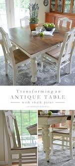 Antique Dining Table Updated With Chalk Paint | Bloggers' Best DIY ... Teton Hand Planed Trestle Ding Set Amish Oak Farmhouse Table And Chairs Painted In Annie Sloan Old White Paint White Chair Cushions Room Ideas Painted Room Chairs A Pumpkin Centerpiece Wooden Centre Of Country Style Amazoncom Poundex F2210 F1276 Glass Leatherette 53 Tables Table Laura Ashley Duck Egg Blue Top Needs Boulez With 6 7 Piece Oval Chalk Pure Traditional Regency Style 8 Eclectic For Cohesive Look Hgtv