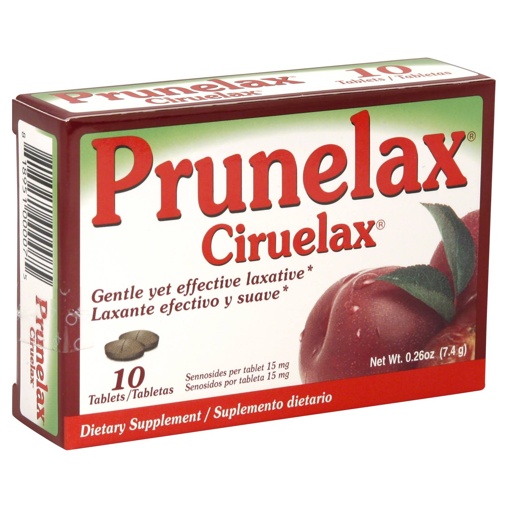 Prunelax Ciruelax Natural Laxative Senna and Dried Plum Supplement - 10 Tablets