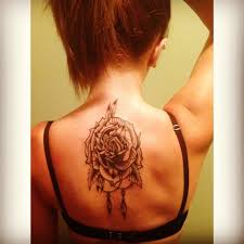 Rose Tattoo On Girl Upperback