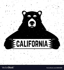 Bear With California Sign Vector Image