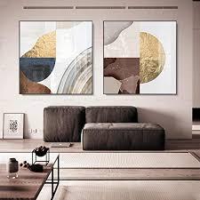 nobrand abstrakte leinwand malerei braun gold grau