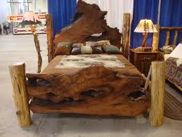 Furniture Rustic Wooden Log Bed Frame And Nightstand In Custom