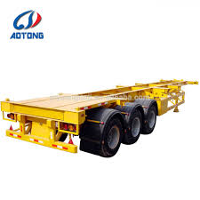 100 Semi Truck Trailers For Sale Good Quality 3 Axle Terminal 45ft Skeleton Container Transport