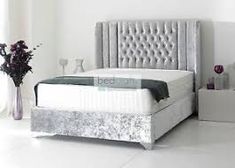 wingback 3ft 4ft6 5ft 6ft bed frame chesterfield style crushed