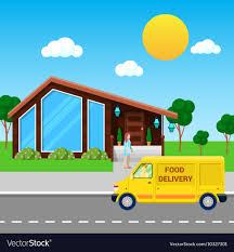 100 Food Delivery Truck Service Brought Order Vector Image