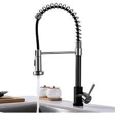 kaibor schöne küchenarmatur schwarz mit ausziehbarer spiralfeder und 2 strahlarten wasserhahn küche mit brause ausziehbar gebürsteter edelstahl