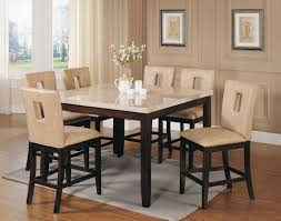 Counter Height Chairs With Backs by Acme Britney 7 Pc Square Marble Top Counter Height Table Set With
