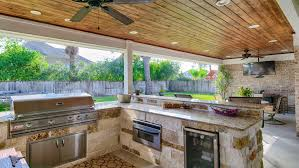 Kitchen Covered Patio With Outdoor Kitchen Decorating Idea