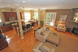 Luxurious Open Floor Plan Kitchen Living Room Dining For Enchanting Beige Fabric Modern Sofa In