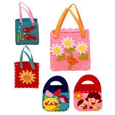 Fun Kids Handmade Handbags Cartoon Educational Handwork DIY Sewing Cloth Handcrafts Mini Bag Toys Creative Gifts