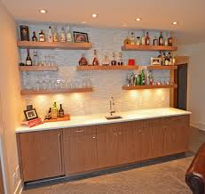 Image result for contemporary shelving over bar