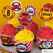 100 Fire Truck Cupcake Toppers Engine Birthday Party Package Engine Party Pinterest