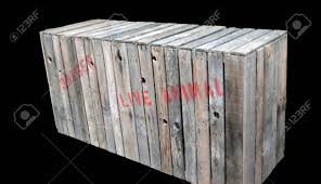 Wooden Animal Shipping Crate On A Black Background Stock Photo
