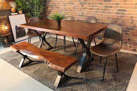 Straight Cut Acacia Dining Table With Black X Legs Honey Walnut