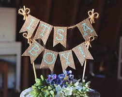 Its A Boy Cake Topper Banner Sign