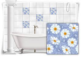 fliesen aufkleber fliesen bild kachel struktur kamille blumen blau sticker bad wc küche