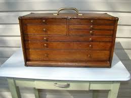 Tool Box Dresser Black by Antique Quartersawn Oak 7 Drawer Machinist Chest Tool Box Tool