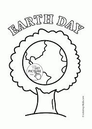 Beauty Tree Earth Happy Day Coloring Page For Kids