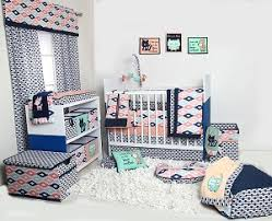 Coral And Mint Baby Bedding by Bacati Liam Aztec Coral Mint Navy 10 Pc Crib Set Including