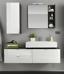 bad set inkl waschbecken weiß hochglanz grau 4 teilig