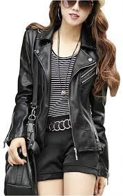 women u0027s moto biker leather jacket in black