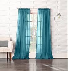 amazon com 63 long sheer curtain panel neon blue aqua teal