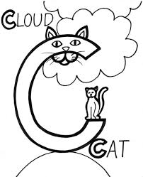 Cloud And Cat Coloring Pages Alphabet