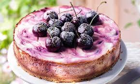 Baked cherry swirl cheesecake