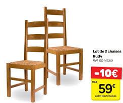 chaises carrefour carrefour promotion lot de 2 chaises rudy produit maison