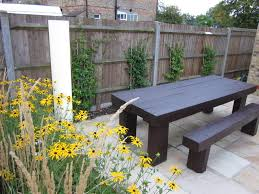 railway sleeper dining table and bench contemporary garden