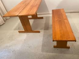 esszimmertisch mit bank ilmari tapiovaara für laukaan puu oy 1970er 2er set