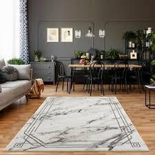 details zu teppich kurzflor modern bordüre meliert grau wohnzimmer