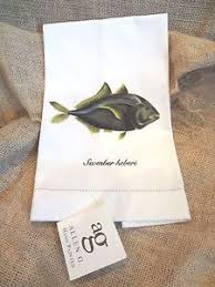 Allen G Designs Hand Painted BLACKTIP KINGFISH Hand Guest Towel