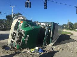 100 Side Dump Truck Dump Truck Flips Onto Side Spills Diesel Fuel On Melbourne Road