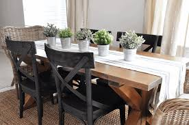 simple dining room table centerpiece ideas rich dark wood finish